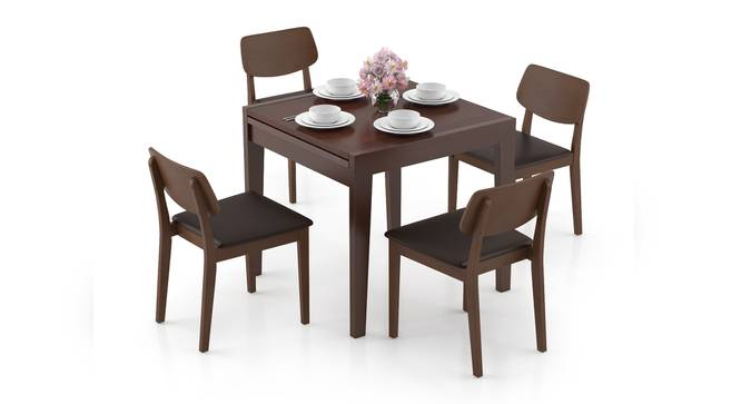 Murphy 4-to-6 Extendable - Lawson 4 Seater Dining Table Set (Dark Walnut Finish, Dark Brown) by Urban Ladder - Design 1 Full View - 297038