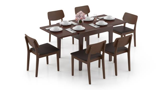 Murphy 4-to-6 Extendable - Lawson 6 Seater Dining Table Set (Dark Walnut Finish, Dark Brown) by Urban Ladder - Design 1 Full View - 297051