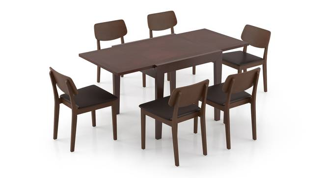 Murphy 4-to-6 Extendable - Lawson 6 Seater Dining Table Set (Dark Walnut Finish, Dark Brown) by Urban Ladder - Front View Design 1 - 297052
