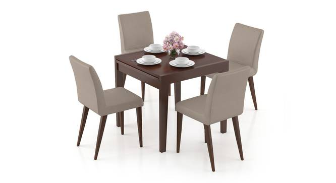 Murphy 4-to-6 Extendable - Persica 4 Seater Dining Table Set (Beige, Dark Walnut Finish) by Urban Ladder - Design 1 Full View - 297064