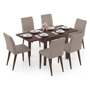 Murphy 4-to-6 Extendable - Persica 6 Seater Dining Table Set (Beige, Dark Walnut Finish) by Urban Ladder - Design 1 Full View - 297077