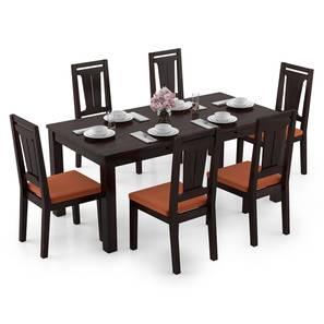 Arabia XL Storage - Martha 6 Seater Dining Table Set (Mahogany Finish, Burnt Orange) by Urban Ladder - Design 1 Full View - 297090