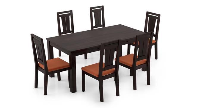 Arabia XL Storage - Martha 6 Seater Dining Table Set (Mahogany Finish, Burnt Orange) by Urban Ladder - Front View Design 1 - 297091