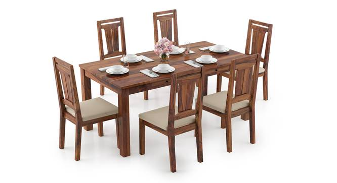 Arabia XL Storage - Martha 6 Seater Dining Table Set (Teak Finish, Wheat Brown) by Urban Ladder - Design 1 Full View - 297119