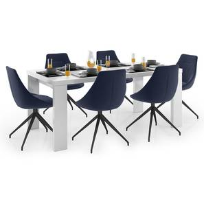 Kariba - Doris 6 Seater Dining Table Set (Blue, White High Gloss Finish) by Urban Ladder - Design 1 Full View - 297128