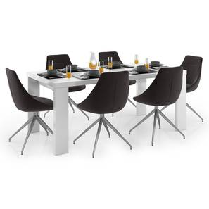 Kariba - Doris 6 Seater Dining Table Set (Dark Grey, White High Gloss Finish) by Urban Ladder - Design 1 Full View - 297139
