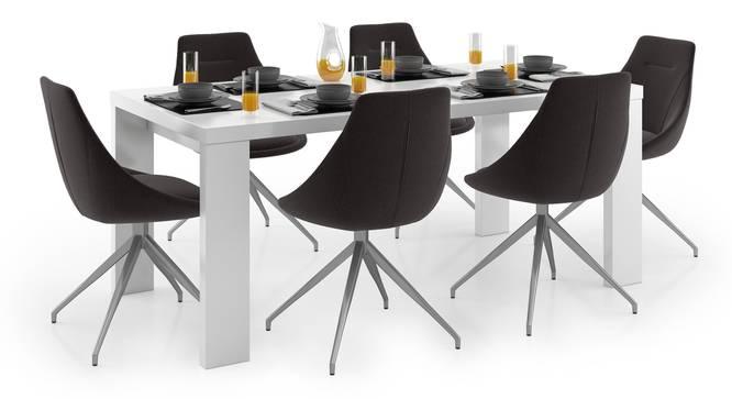 Kariba - Doris 6 Seater Dining Table Set (Dark Grey, White High Gloss Finish) by Urban Ladder - Design 1 Full View - 297139