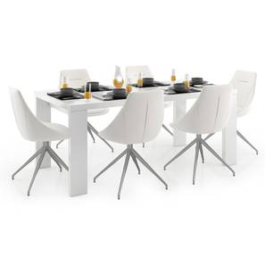 Kariba - Doris 6 Seater Dining Table Set (White, White High Gloss Finish) by Urban Ladder - Design 1 Full View - 297150