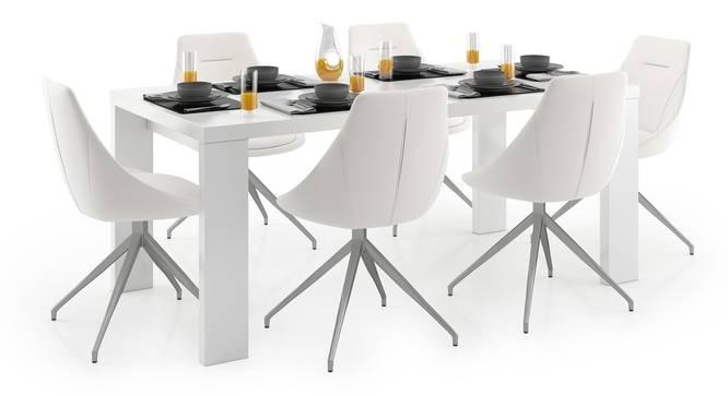 Kariba - Doris 6 Seater Dining Table Set (White, White High Gloss Finish) by Urban Ladder - Design 1 Full View - 297150