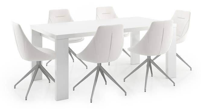 Kariba - Doris 6 Seater Dining Table Set (White, White High Gloss Finish) by Urban Ladder - Front View Design 1 - 297151