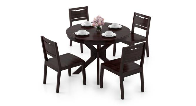 Liana - Aries 4 Seater Round Dining Table Set (Mahogany Finish) by Urban Ladder - Design 1 Full View - 297161
