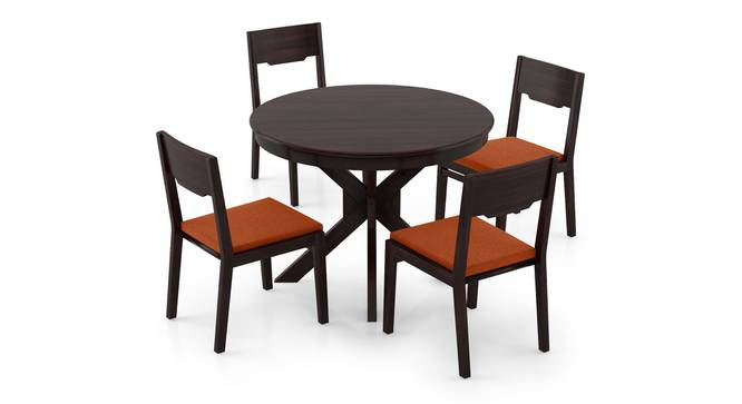 Liana - Kerry 4 Seater Round Dining Table Set (Mahogany Finish, Burnt Orange) by Urban Ladder - Front View Design 1 - 297182