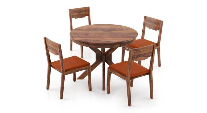 Liana - Kerry 4 Seater Round Dining Table Set (Teak Finish, Burnt Orange) by Urban Ladder