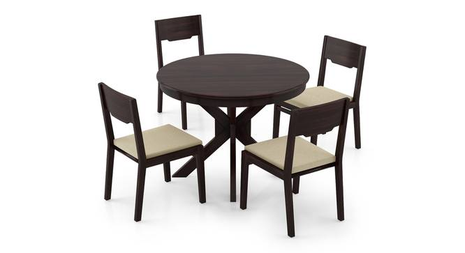 Liana - Kerry 4 Seater Round Dining Table Set (Mahogany Finish, Wheat Brown) by Urban Ladder - Front View Design 1 - 297202