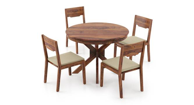 Liana - Kerry 4 Seater Round Dining Table Set (Teak Finish, Wheat Brown) by Urban Ladder
