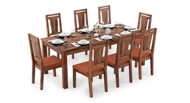 Arabia XXL - Martha 8 Seater Dining Table Set (Teak Finish, Burnt Orange) by Urban Ladder - Design 1 Full View - 297270