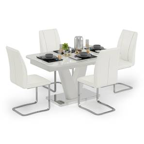 Caribu 4 to 6 Extendable - Seneca 4 Seater Dining Table Set (White High Gloss Finish) by Urban Ladder - Design 1 Full View - 297297