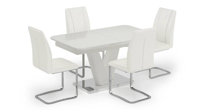 Caribu 4 to 6 Extendable - Seneca 4 Seater Dining Table Set (White High Gloss Finish) by Urban Ladder - Front View Design 1 - 297298