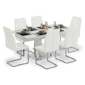 Caribu 4 to 6 Extendable - Seneca 6 Seater Dining Table Set (White High Gloss Finish) by Urban Ladder - Design 1 Full View - 297312