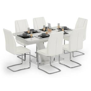 Caribu 6 to 8 Extendable - Seneca 6 Seater Dining Table Set (White High Gloss Finish) by Urban Ladder - Design 1 Full View - 297327