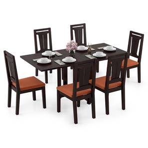Danton 3-to-6 - Martha 6 Seater Folding Dining Table Set (Mahogany Finish, Burnt Orange) by Urban Ladder - Design 1 Full View - 297466