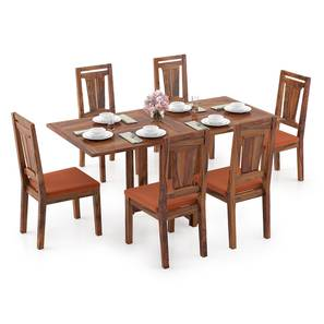 Danton 3-to-6 - Martha 6 Seater Folding Dining Table Set (Teak Finish, Burnt Orange) by Urban Ladder - Design 1 Full View - 297479
