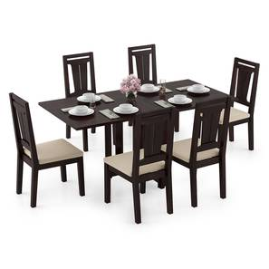Danton 3-to-6 - Martha 6 Seater Folding Dining Table Set (Mahogany Finish, Wheat Brown) by Urban Ladder - Design 1 Full View - 297492