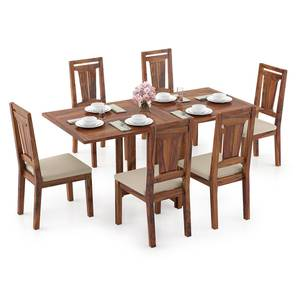 Danton 3-to-6 - Martha 6 Seater Folding Dining Table Set (Teak Finish, Wheat Brown) by Urban Ladder - Design 1 Full View - 297505