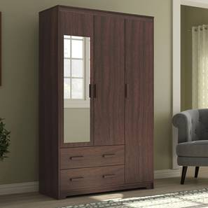 Hilton 3 Door Wardrobe (2 Drawer Configuration, Smoked Walnut Finish) by Urban Ladder - Design 1 Full View - 298408