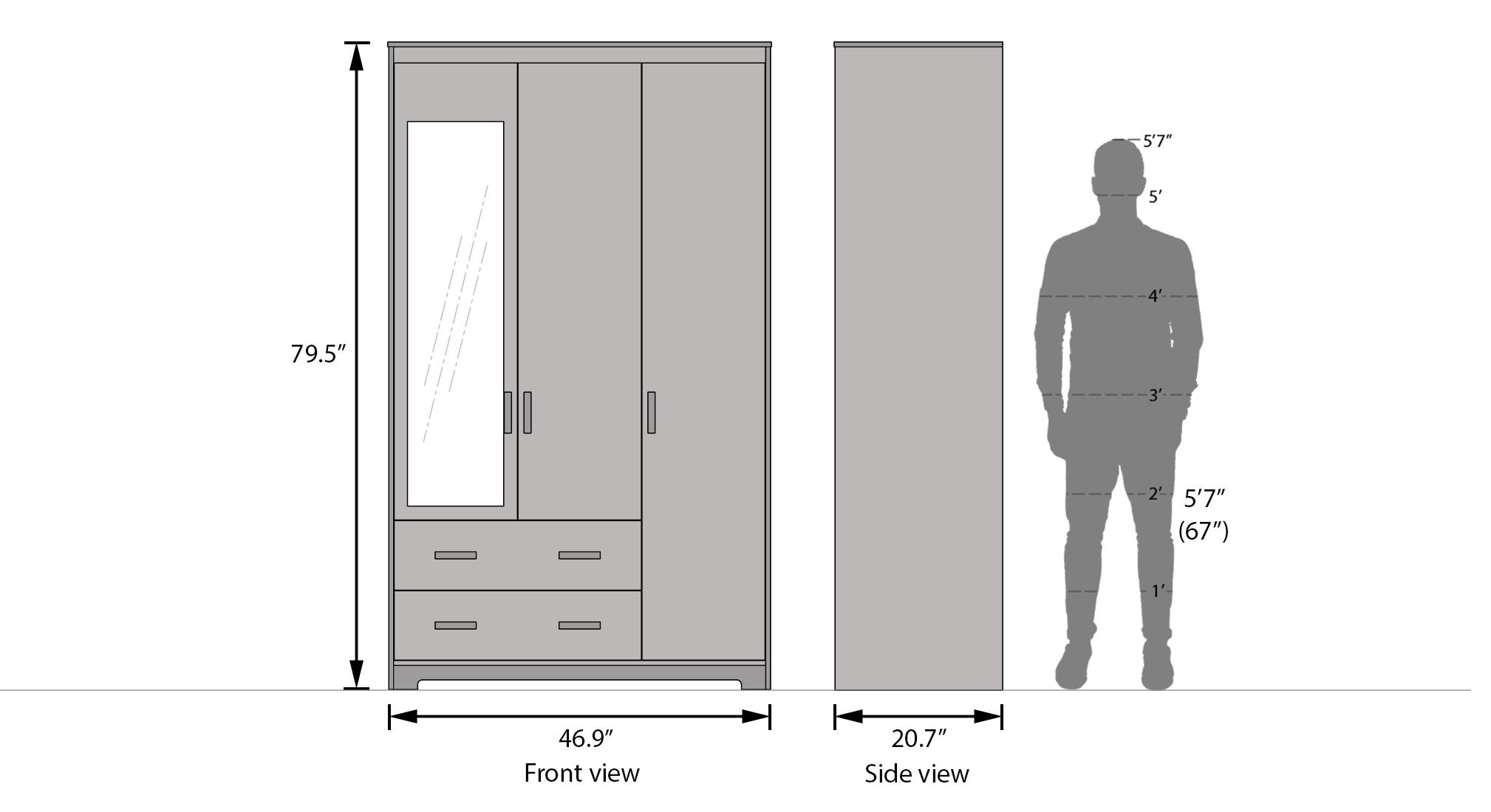Hilton 3 door wardrobe 2 drawer dimension 2