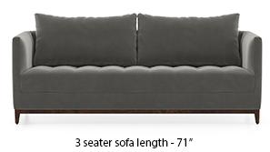 Florence Compact Sofa (Ash Grey Velvet)