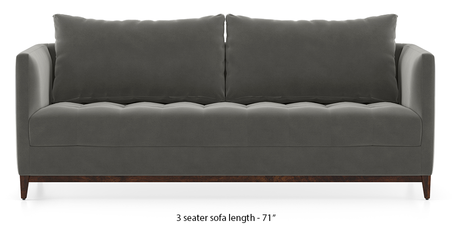 Florence Compact Sofa (Ash Grey Velvet) by Urban Ladder