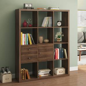 Boeberg Bookshelf/Display Unit (Dark Walnut Finish, 1 Cabinet, 2 Drawers Inserts, 4 x 3 Configuration, 85 Book Book Capacity) by Urban Ladder - Design 1 Full View - 298875