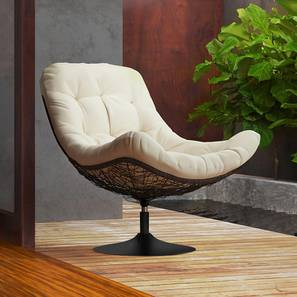 Calabah Swivel Lounge Chair (Cream) by Urban Ladder - Design 1 Full View - 299079