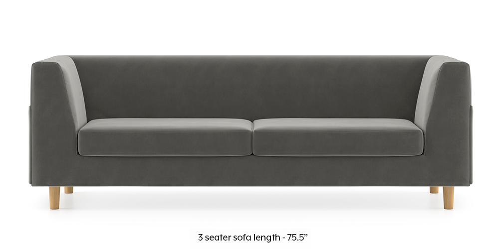 Armeo Sofa (Ash Grey Velvet) by Urban Ladder - -