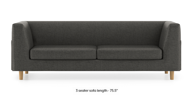 Rubik Sofa (Steel Grey) (3-seater Custom Set - Sofas, None Standard Set - Sofas, Steel, Fabric Sofa Material, Regular Sofa Size, Regular Sofa Type)