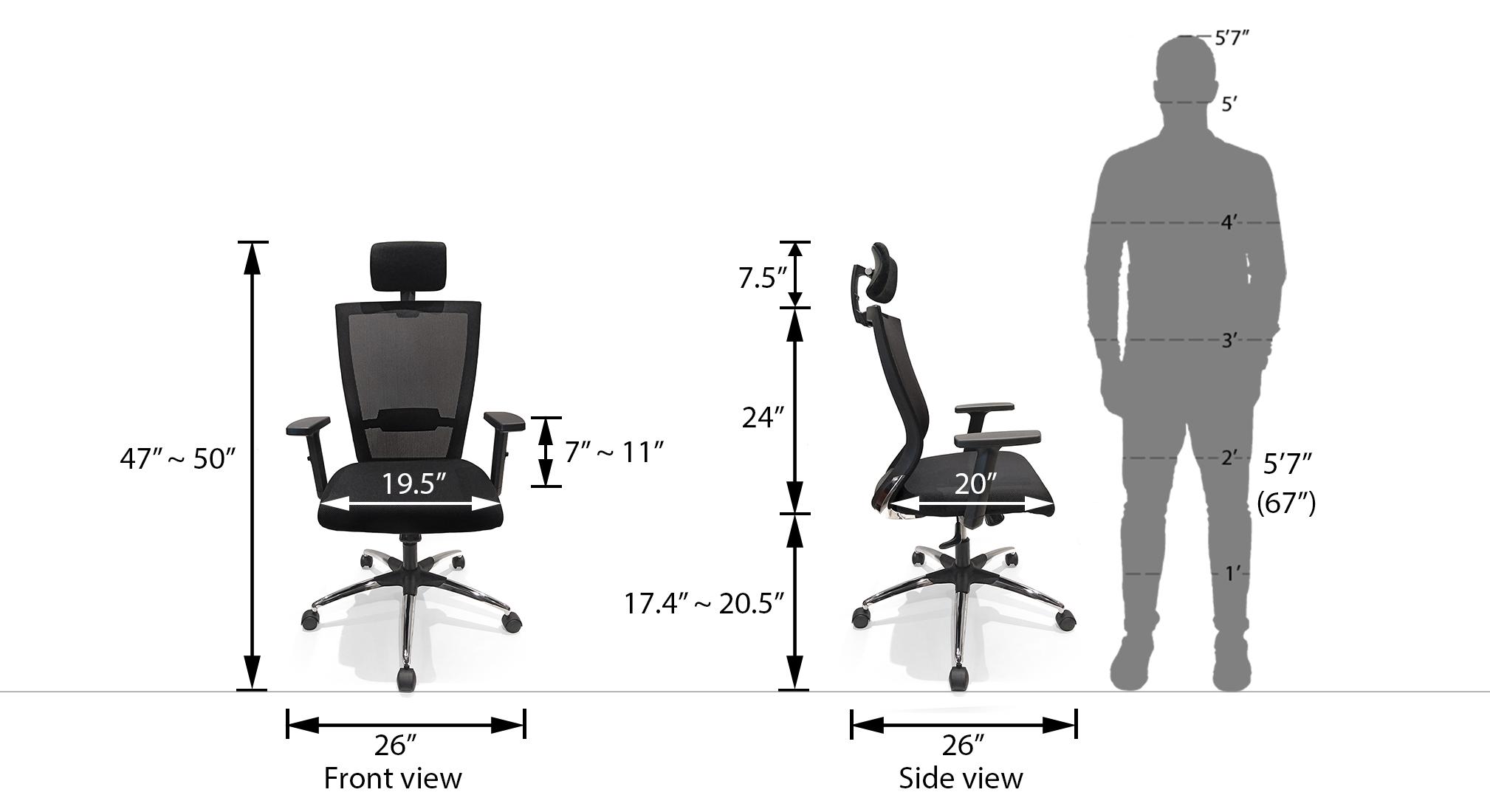 Werner high back study chair black dim