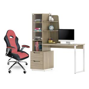 Sidney - Mika Study Table (Red, Honey Walnut Finish) by Urban Ladder - Design 1 Full View - 300395