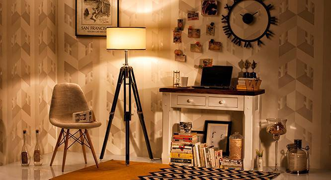 Hubble Tripod Floor Lamp (Black Base Finish, Cylindrical Shade Shape, White Shade Color) by Urban Ladder - Design 1 Full View - 300599