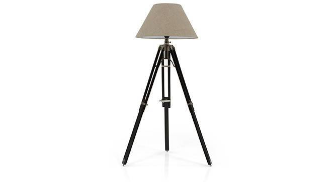 Hubble Tripod Floor Lamp (Black Base Finish, Natural Shade Color, Conical Shade Shape) by Urban Ladder - Front View Design 1 - 300610