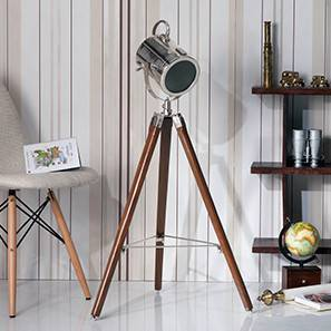 Belfast Tripod Spotlight (Teak Base Finish, Cylindrical Shade Shape, Nickel Shade Color) by Urban Ladder - Design 1 Full View - 300618