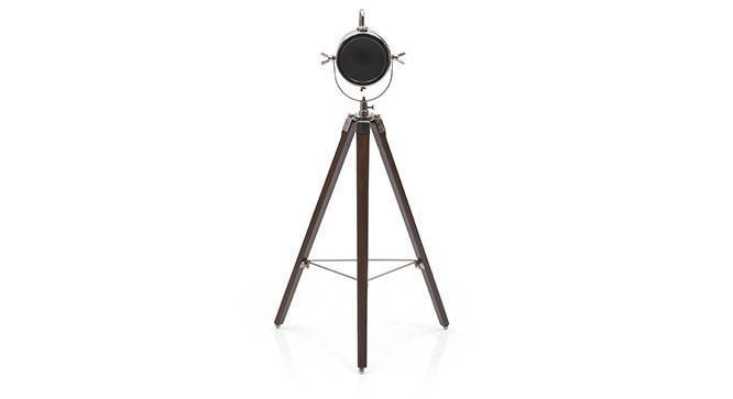 Belfast Tripod Spotlight (Teak Base Finish, Cylindrical Shade Shape, Nickel Shade Color) by Urban Ladder - Front View Design 1 - 300619