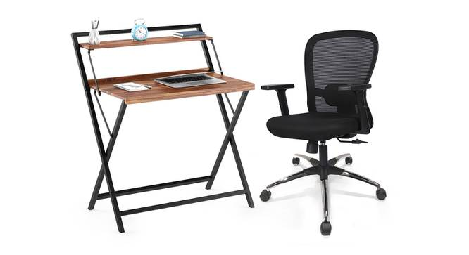 Bruno - Cohen Study Set (Teak Finish, Black) by Urban Ladder - Design 1 Full View - 300805