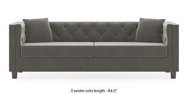 Windsor Sofa (Ash Grey Velvet) (1-seater Custom Set - Sofas, None Standard Set - Sofas, Fabric Sofa Material, Regular Sofa Size, Regular Sofa Type, Ash Grey Velvet)