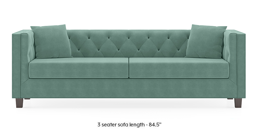 Windsor Sofa (Dusty Turquoise Velvet) by Urban Ladder - -