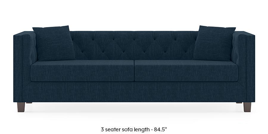 Windsor Sofa (Indigo Blue) (3-seater Custom Set - Sofas, None Standard Set - Sofas, Indigo Blue, Fabric Sofa Material, Regular Sofa Size, Regular Sofa Type) by Urban Ladder - -