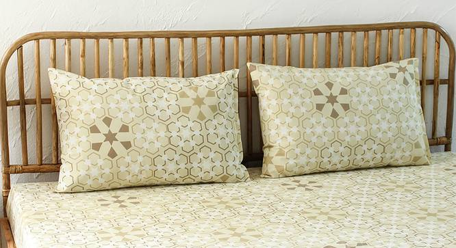 Darpan Bedsheet Set (Beige, Fitted Size) by Urban Ladder - Design 1 Full View - 301623