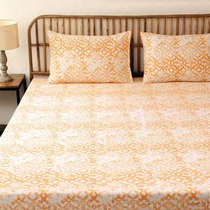 Rough Ogee Bedseet Set (Orange, Double Size) by Urban Ladder - Design 1 Full View - 301808