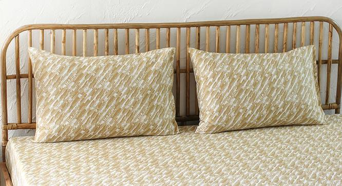 Tulika Bedsheet Set (Beige, Fitted Size) by Urban Ladder - Design 1 Full View - 301816