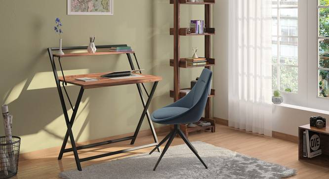 Bruno Folding Study Table (Teak Finish, Black) by Urban Ladder - Full View Design 1 - 301956